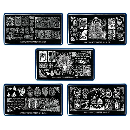 BMC 5pc Happily Never After Nail Stamping Plate Set - Storybook Nightmare Scary Brothers Grimm Halloween Inspired - Cinderella, Snow White, Sleeping Beauty, Hansel & Gretel, Little Red Riding Hood -