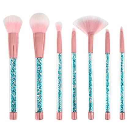 99a12022c6a Com Makeup Brush Kit Kapmore 7pcs Powder Shiny Crystal Liquid Quicksand  Cosmetic Set With Bag Sports
