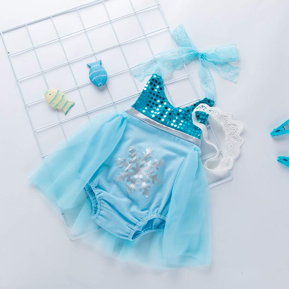 Baby Girl Mermaid Romper Light Blue Lace Halter Ruffle Tutu Skirt Jumpsuit Sunsuit Outfit with Headband 80cm 2Pcs