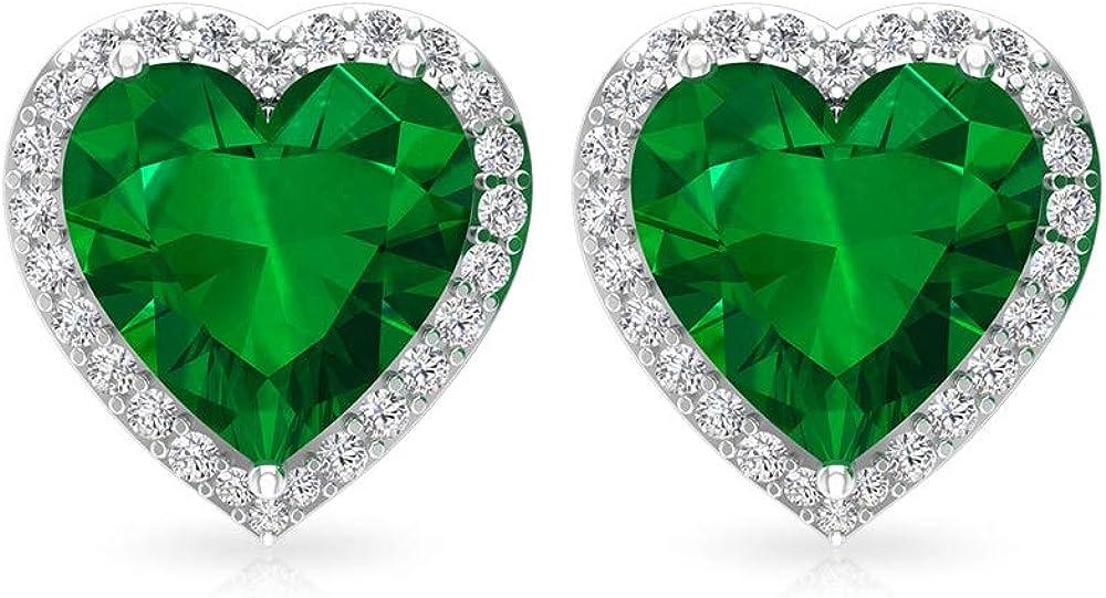 Aretes de esmeralda de 2,5 quilates, certificado IGI, pendientes de novia de diamante, HI-SI Diamond Bridesmaid, pendientes de boda, solitario, tornillo hacia atrás