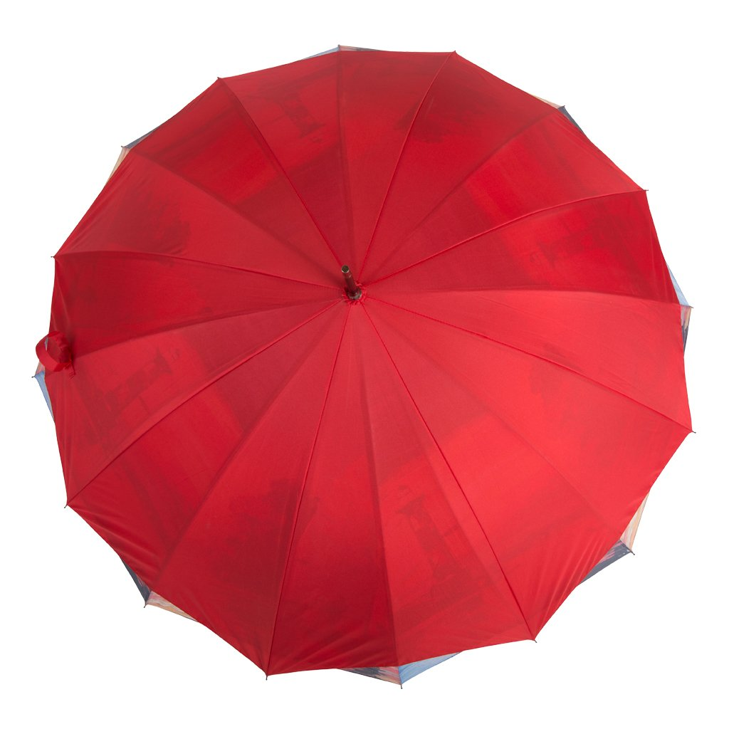Austin House Sunset Lighthouse 16 Panel Stick Umbrella, Red, International Carry-On Holiday Luggage AH05DL01070