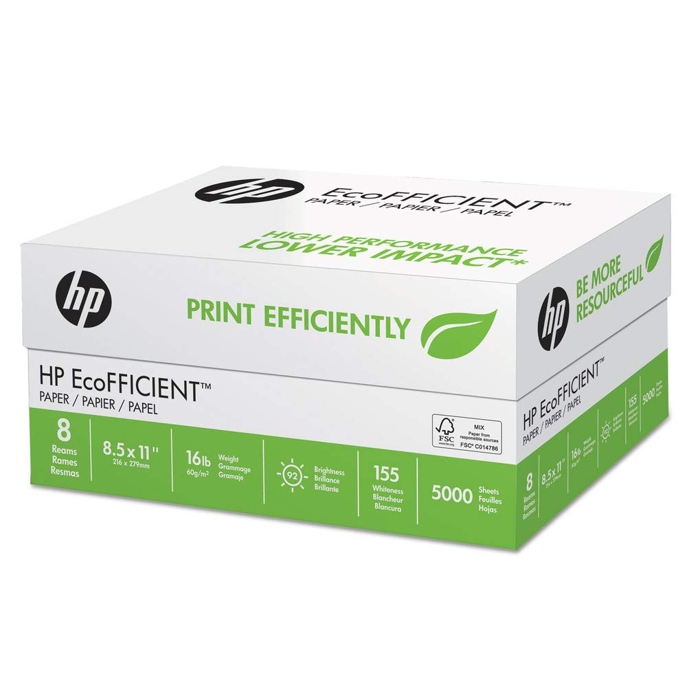 HP Papers 216000 Ecofficient Paper, 92 Brightness, 16lb, 8 1/2 X 11, White, 5000 Sheets/carton