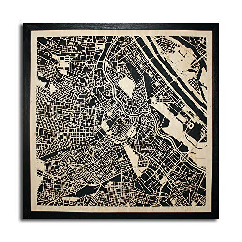 Wood City Map Vienna Wien Austria Swiss Decor Picture Town Village Laser Cut Wall Map Art Wood Handmade 20