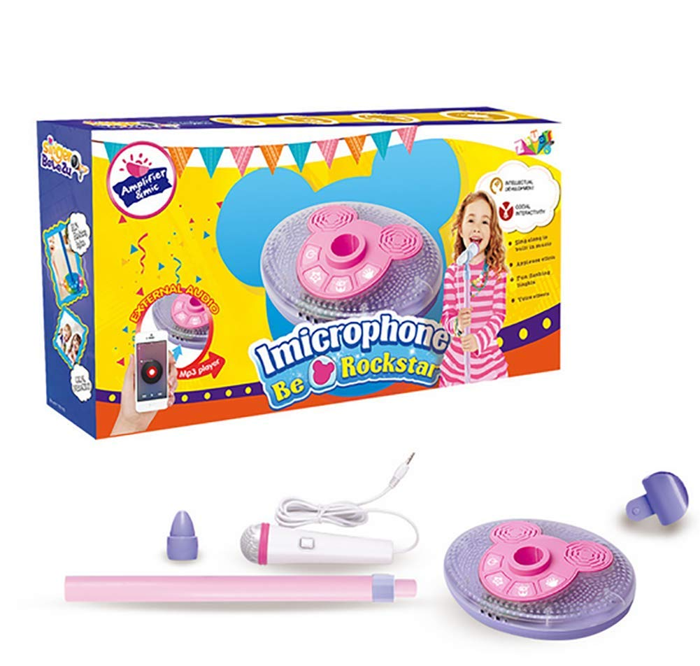 Kid Microphone Toys, Kids Children's Karaoke Machines with Stand, Kid Gifts for 3 4 5 6 Year Old Girls,A by GHDE& (Image #1)