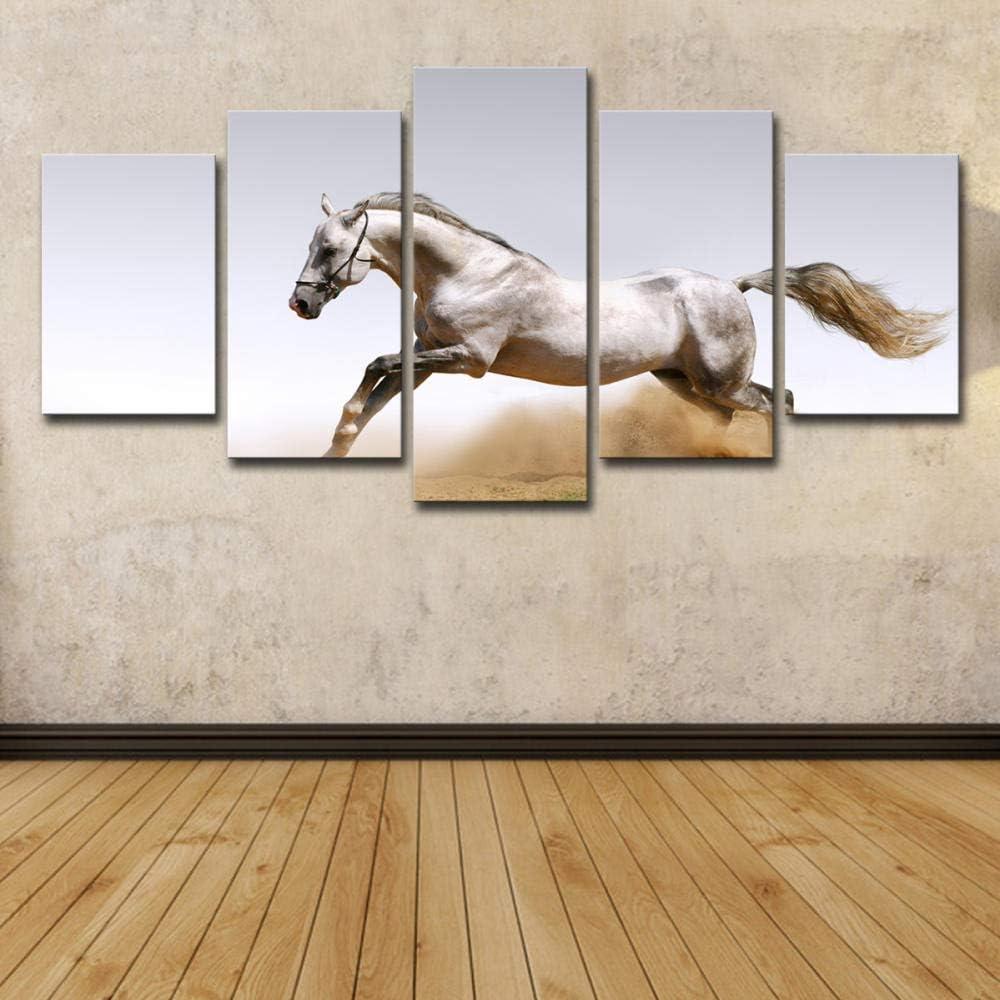 WENXIUF Cuadro sobre Lienzo 5 Partes Animal Caballo Blanco Corriendo Arena, Imprimir En Lienzo HD Cuadros para Dormitorios Modernos,Marco De Madera 100X55Cm Listo para Colgar
