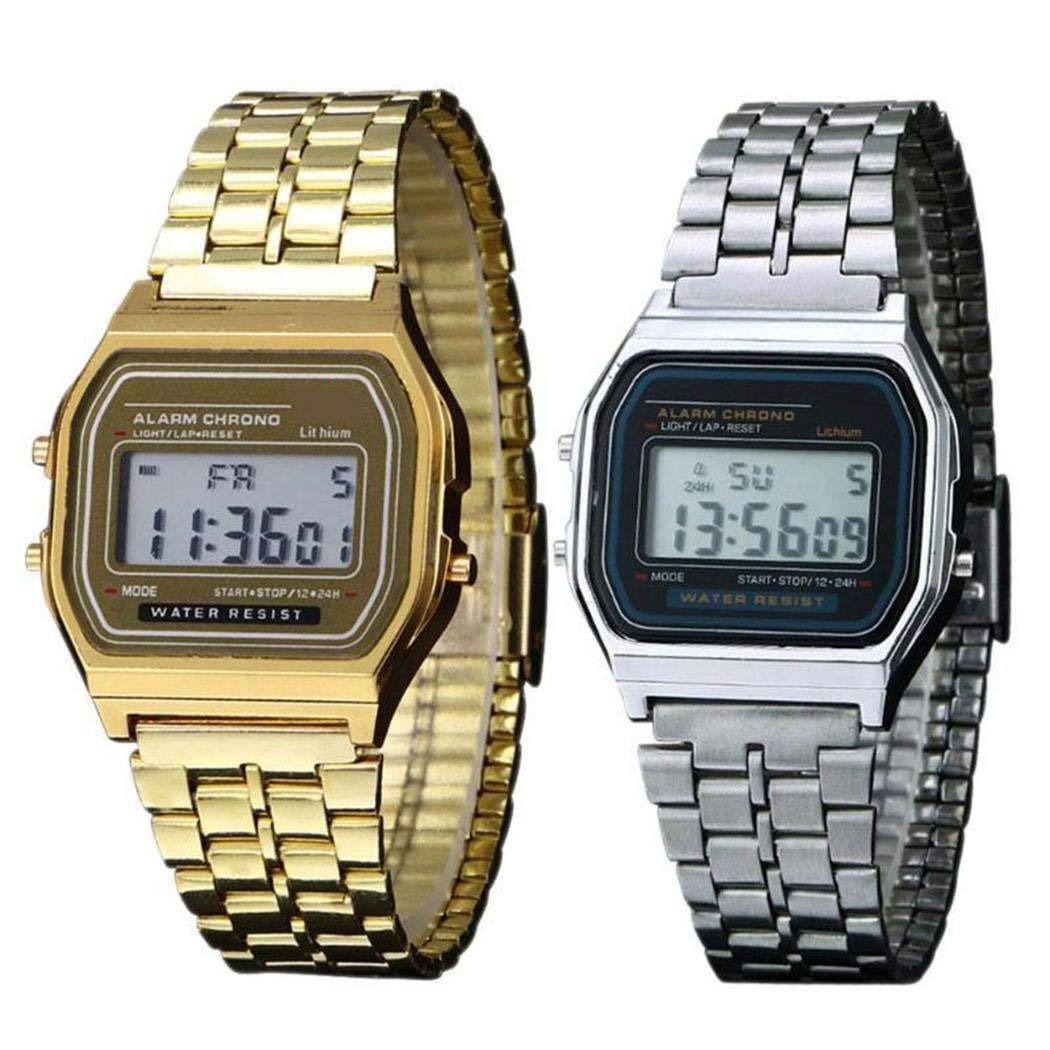 Siaodm Retro Classic Stainless-Steel Quartz Wrist Watch with LCD Digital Dial