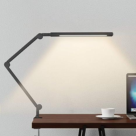 Lámpara Escritorio LED, Wellwerks 9W Lámpara de Mesa Abrazadera Brazo Oscilante Luz Regulable con 6 Modos de Color + Temporizador + Memoria para ...