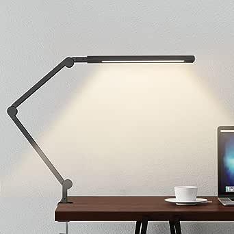 Lámpara Escritorio LED, Wellwerks 9W Lámpara de Mesa Abrazadera Brazo Oscilante Luz Regulable con 6 Modos de Color + Temporizador + Memoria para Lectura Trabajo Oficina (Negro): Amazon.es: Iluminación
