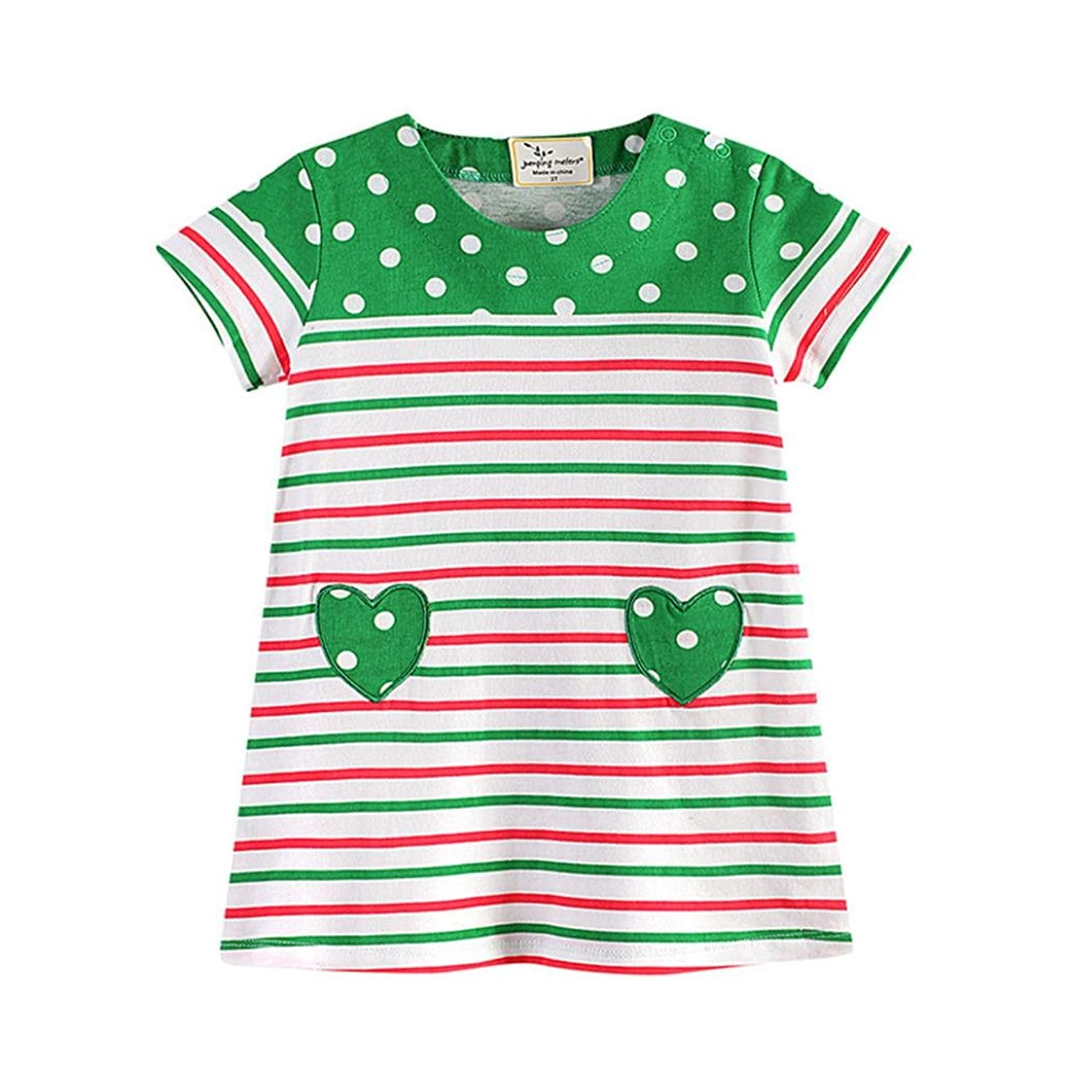 Nibito Toddler Baby Kid Girl Heart Print Polka Dot Dress Stripe
