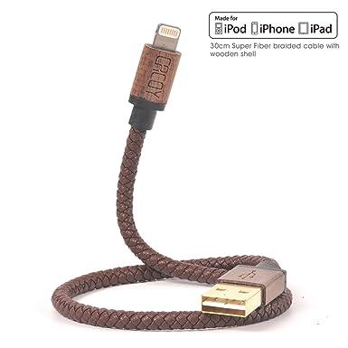 [Certificado Apple MFI] iPhone Cable Lightning a USB cargador, cacoy 30 cm/30 cm corto 6 Bunch Piel Trenzada con carcasa de madera Conector para Apple ...