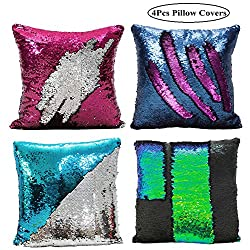4 Pack Reversible Sequins Pillowcase Mermaid Pillow Covers 40×40 cm Two Color Changing