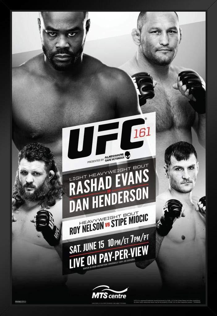 Pyramid America Official UFC 161 Rashad Evans vs Dan Henderson Sports Framed Poster 14x20 inch