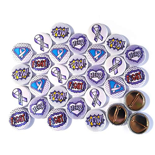 Superhero Awareness Pins - LAVENDER. All Cancer Awareness, Craniosynostosis, Epilepsy, Gynecological Cancer, Hypokalemic Periodic Paralysis, Infantile Spasms, Rett Syndrome. (1
