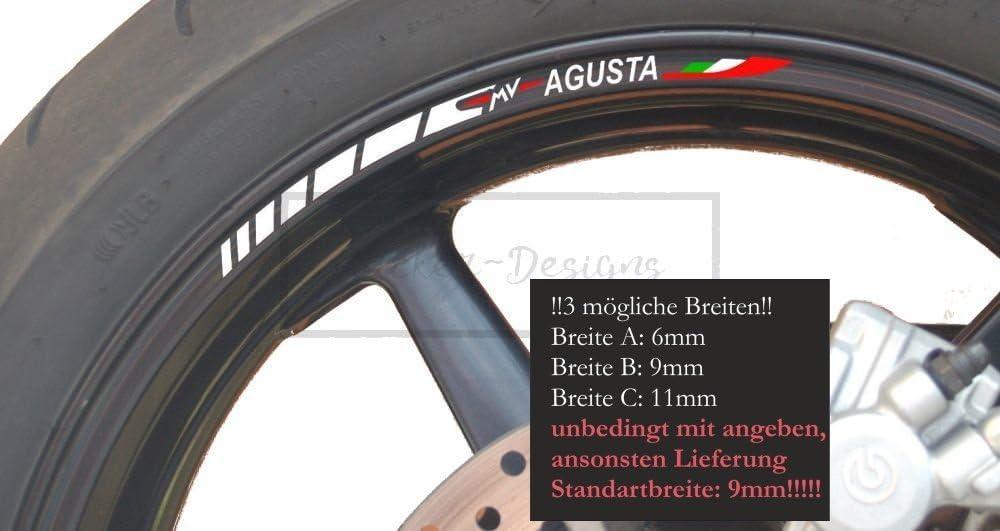 Sticker Designs 8x Felgen Rand Aufkleber Uv Waschanlagenfest Kompatibel Für Mv Agusta Stripes F3 F4 1000 R Brutale 750 Rima023 Alle GrÖßen Motorad Bike Made In Germany Auto
