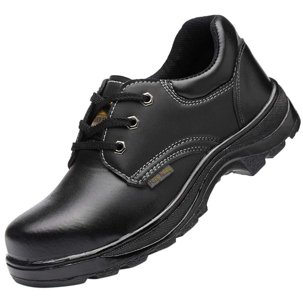 Men Women Genuine Leather Oxford Lace-up Work Walking Safety Shoes Slip Resistant Trekking Backpacking Boots (US:10(45), Black)