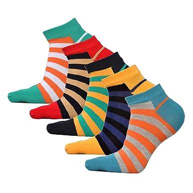 bieten viel Luxus kaufen schön Design AIEOE Männer Fünf Finger Zehensocken Baumwolle Sneaker Socken Atmungsaktiv  Gestreift Sport Laufende Socken
