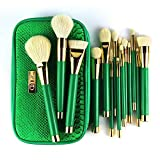 Same style Sonia Kashuk 15pcs Green Makeup Brush Sets Goat Hair Wood Handle Sets Good Quality Washable Makeup Tools