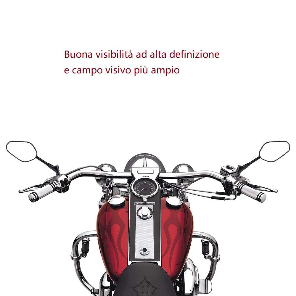 para Street Bike Sport Bike Scooter Cruiser Espejos retrovisores laterales de moto universales con homologaci/ón E-Mark