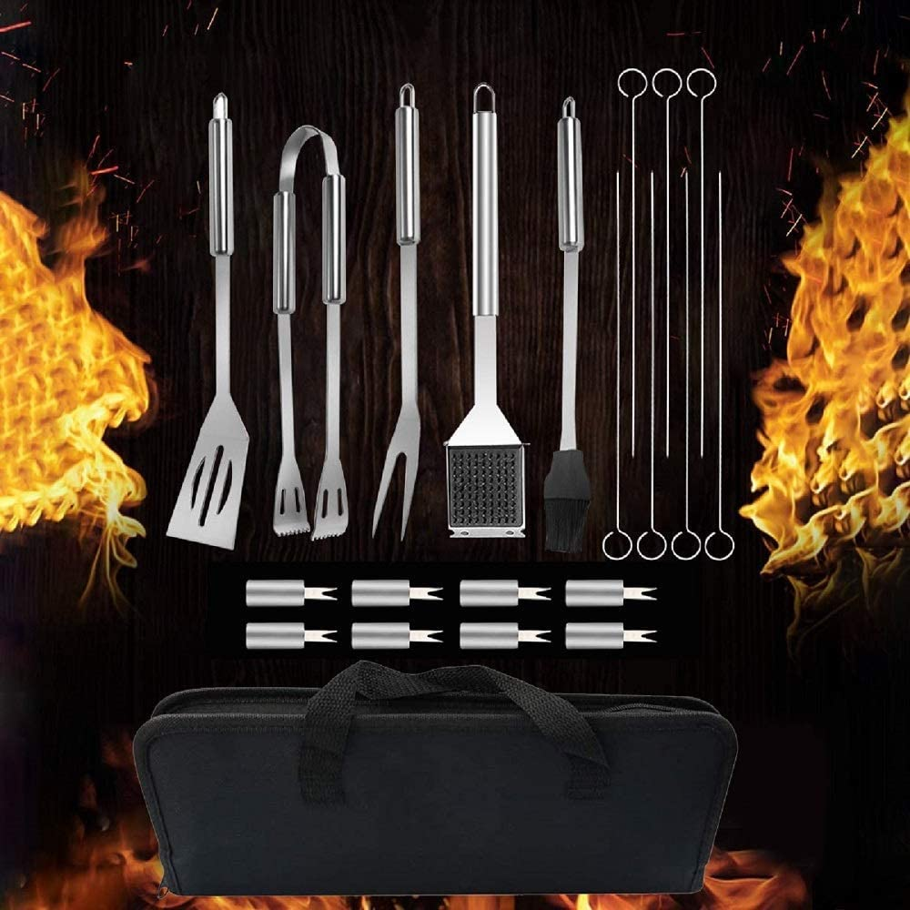 Kit BBQ Utensili Professionale Perfetti,Barbecue Set Utensili per Grill,Miglior Regalo per Barbecue per Uomini e Donne Accessori Barbecue Inossidabile Barbecue Accessori,20 Pezzi Utensili Barbecue