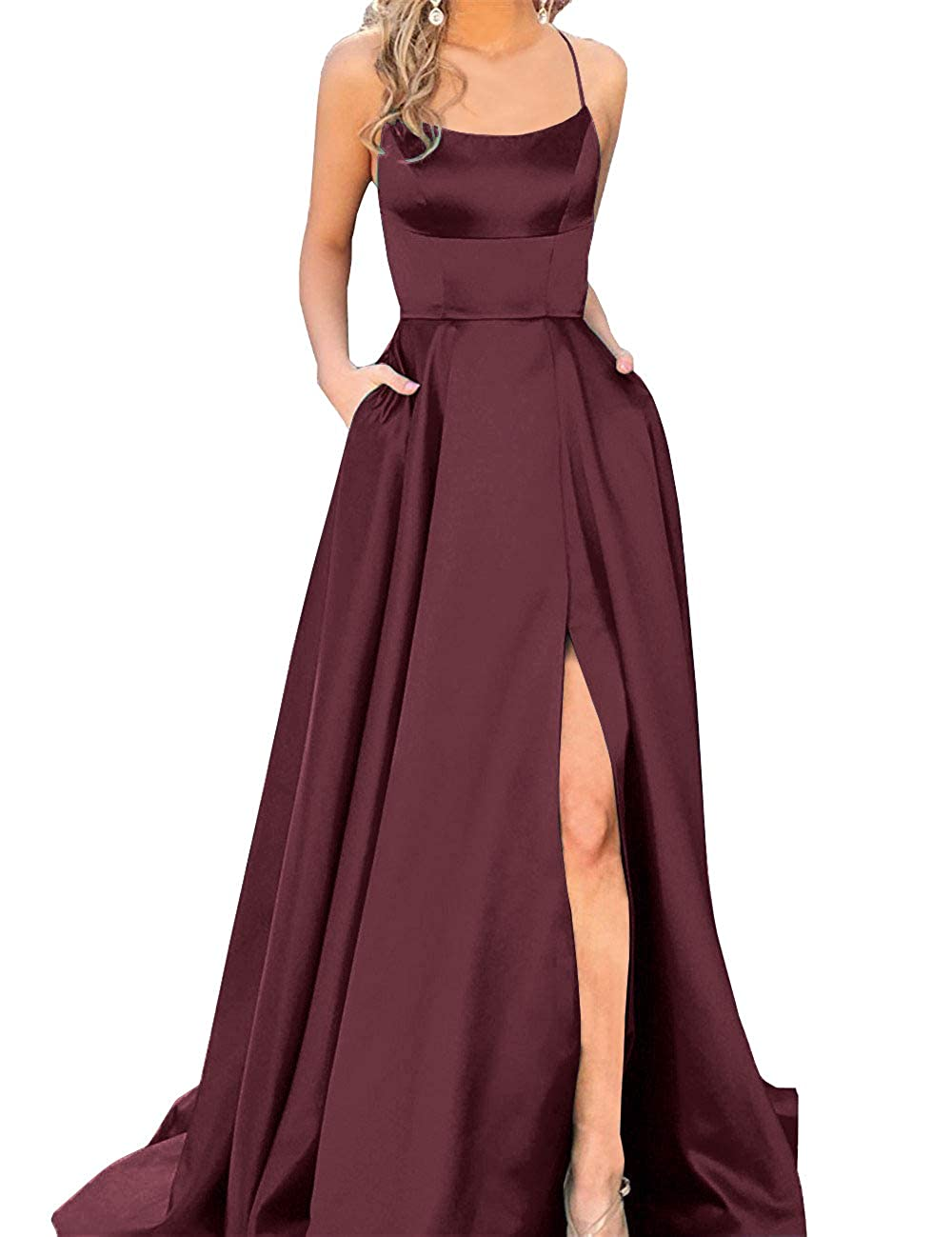 95985b68d488 Sexy Side Split Formal Evening Gowns Spaghetti Straps Prom Dresses Long  with Pockets at Amazon Women's Clothing store: