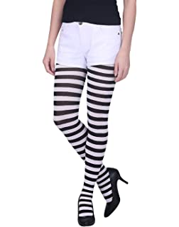79bc0a170 HDE Women s Striped Tights Full Length Sheer Microfiber Nylon Footed  Stockings