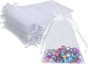 Wuligirl 100pcs 5X7 Inches White Organza Bag Christmas Drawstring Pouches Party Wedding Favor Gift Bags(White 5x7)