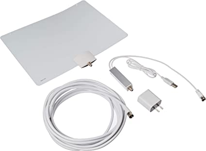 Cable in White Mohu Indoor Amplified 50-Mile Range HDTV Antenna with 16 ft