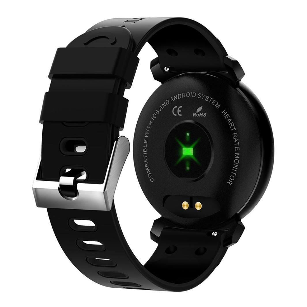 QHJ Bluetooth Smart reloj IP68 resistente al agua Fitness Tracker Tensiómetro Pulsómetro, Negro: Amazon.es: Deportes y aire libre