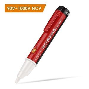 INTEY Detector de Voltaje sin Contacto Voltage Detector De Tension Tester Volt Pen con intermitente Indicador de luz LED 90-1000V