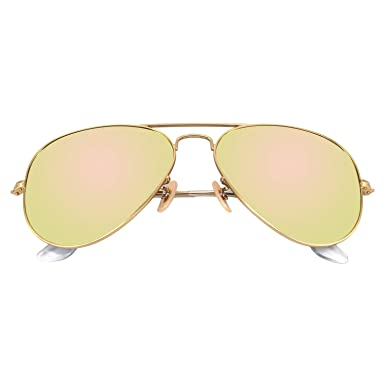 acddae54c8 YuFalling Aviator Sunglasses for Men and Women (gold frame cherry pink lens