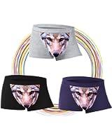 3er Pack Herren Lustige Boxershorts 3D Wolf Adler Muster Klassisch Shorts Unterwscähe Unterhosen Trunk Underwear Baumwolle