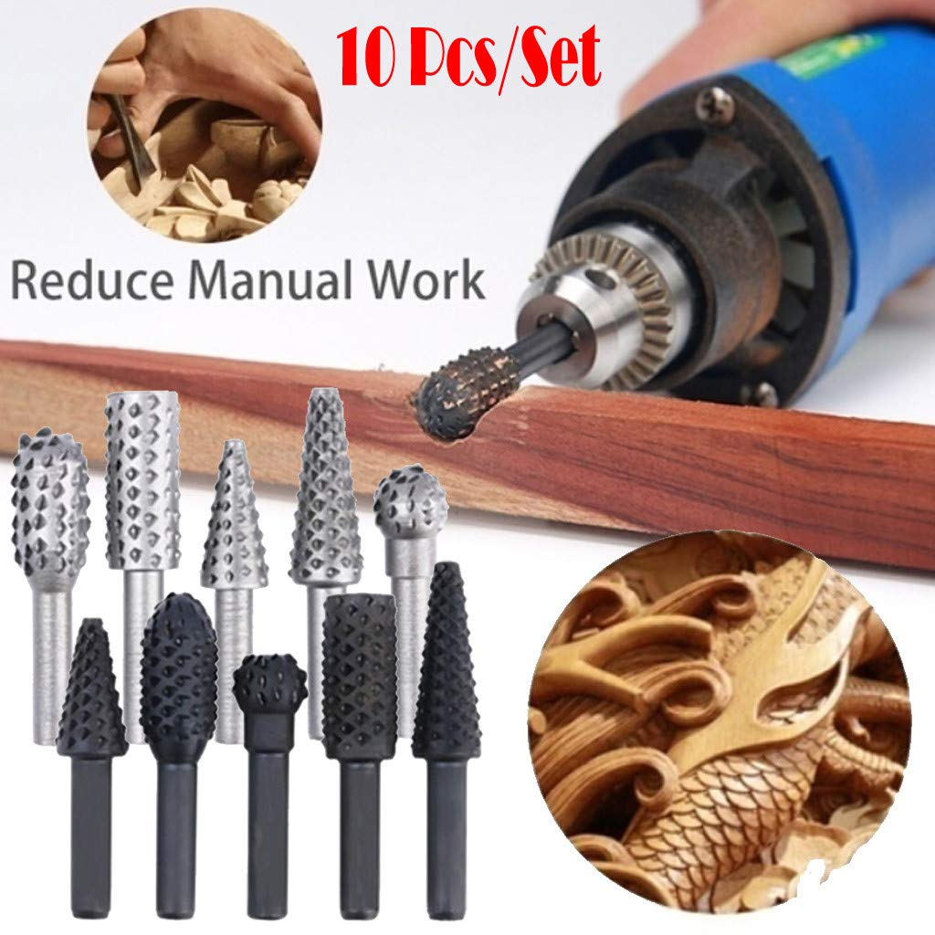 Used for Engraving of Wood Rotating Thorn Head 10pcs//Set Polishing Accessories DIY Electric Grinding Head Suitable for Woodworking Plastics and Other Soft Materials Made of 45 Steel Chamfering