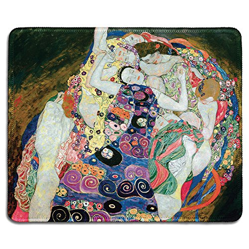 dealzEpic - Art Mousepad - Natural Rubber Mouse Pad with Famous Fine Art Painting of The Virgins (The Maiden) by Gustav Klimt - Stitched Edges - 9.5x7.9 inches