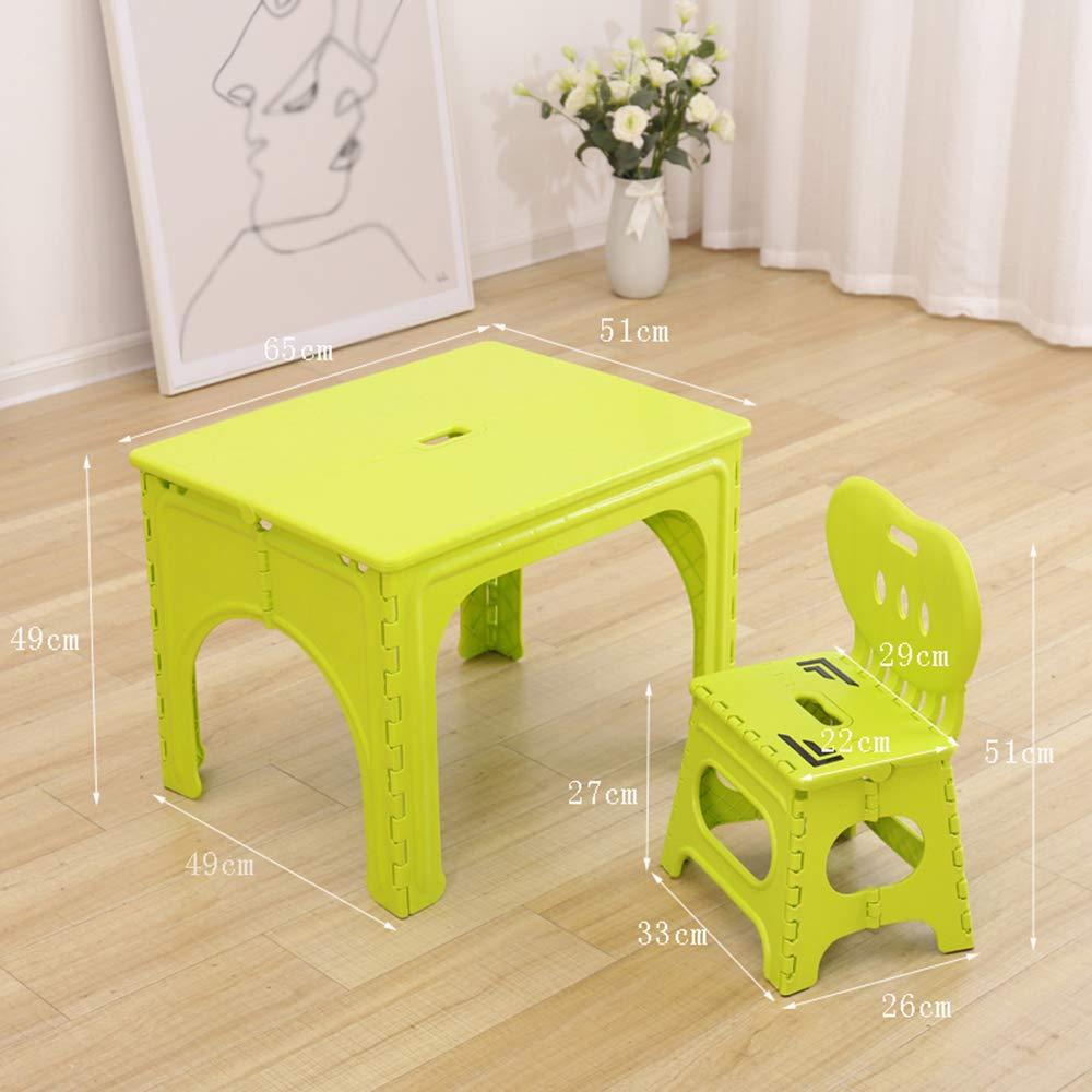 vert 1 table+1 chair Table Pliante pour Enfants, Bureau BéBé De 2 à 7 Ans, Chaise portable en Plastique Et Chaise