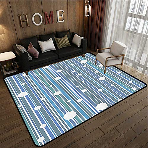 Office Floor mats,Geometric Decor Collection,Circles on Vertical Straight Lines Geometrical Decorative Modern Pattern Artwork,Blue Grey Te 59