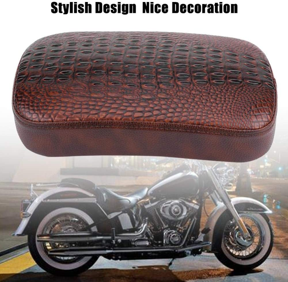 Hlyjoon Motorcycle Saddle Seat Motorbike Suction Cup Rear Pillion Passenger Pad Seat Flat Saddle Cushion Sella Mat for Bobber Chopper 6吸盘式-Black
