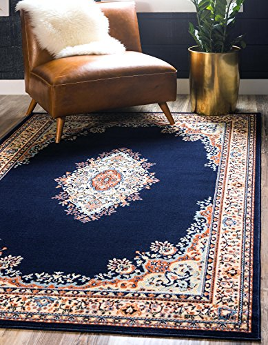 Unique Loom Mashad Collection Navy Blue 6 x 9 Area Rug