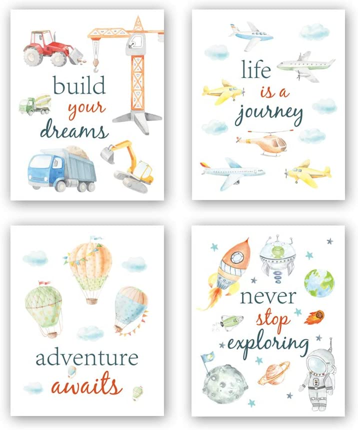 """CHDITB Cartoon Car Art Print,Inspirational Phrases Quotes Art Print, Construction Vehicle Airplane Canvas Poster,Set of 4(8"""" x10"""" ) Outer Space Painting,Balloon Artworks for Boys Room Playroom Decor"""