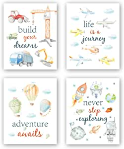 "CHDITB Cartoon Car Art Print,Inspirational Phrases Quotes Art Print, Construction Vehicle Airplane Canvas Poster,Set of 4(8"" x10"" ) Outer Space Painting,Balloon Artworks for Boys Room Playroom Decor"