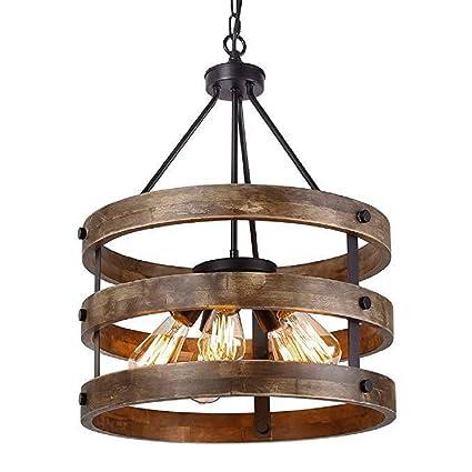 HHORD 5 Luces Lámpara Colgante de Metal Circular de Madera ...