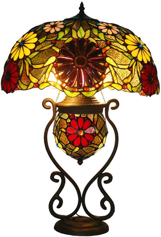Tiffany Style Table Lamp with Lighted Base, 3 Lights