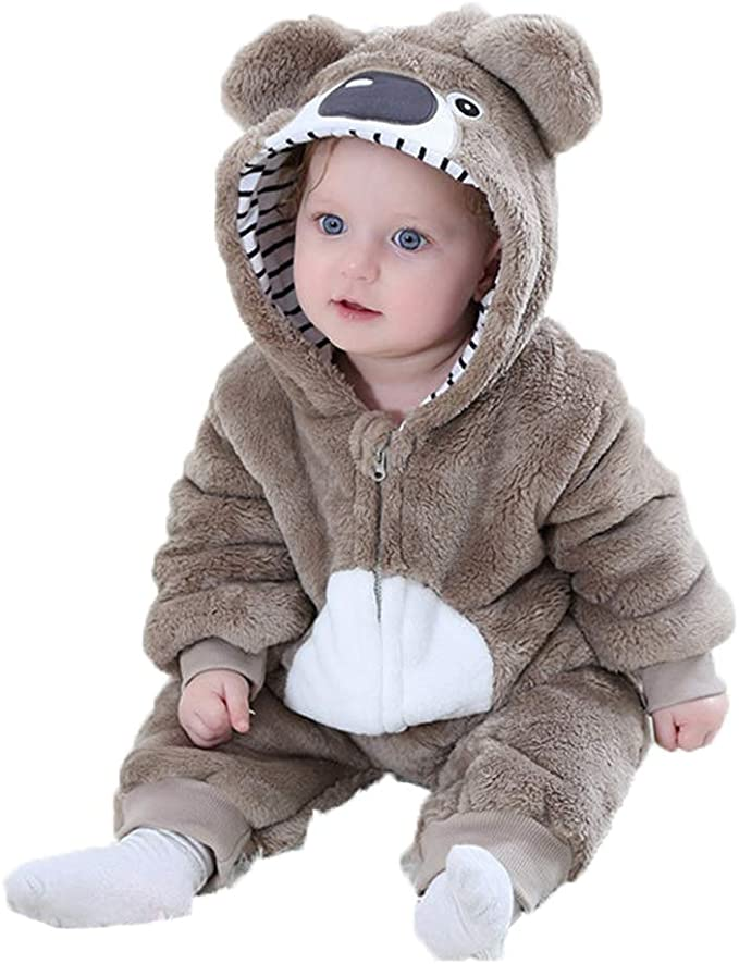 Baby Animal Hooded Romper Flannel Jumpsuit Unisex Infant Pajamas Outfits
