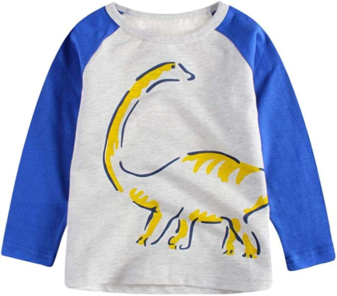 Boys Dinosaur Prined T Shirt Toddler Tees Kids Long Sleeve Tops Children Clothes