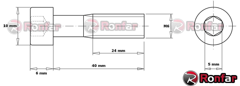 RONFAR Vis /à t/ête Cylindrique 6 pans creux Partiellement filet/é M6 x 40 mm 50 pi/èces