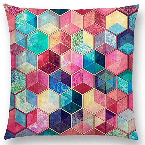 JustWalls Hot Sale 2018 Gradient Rainbow Pastel Watercolor Moroccan Hexagon Pattern Colorful Gemstone Crystal Cubes Cushion Sofa Throw Pillow 001-1 Pc. Filling not included