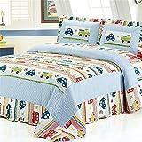 Abreeze Boys Multi Color Queen Transportation Themed Quilt Bedspread Car Trucks Vehicles Printed Bedding,Reversible Kids Bedding