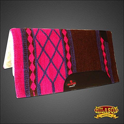 (HILASON Made in USA Western Wool Gel Saddle Blanket Pad White Pink)