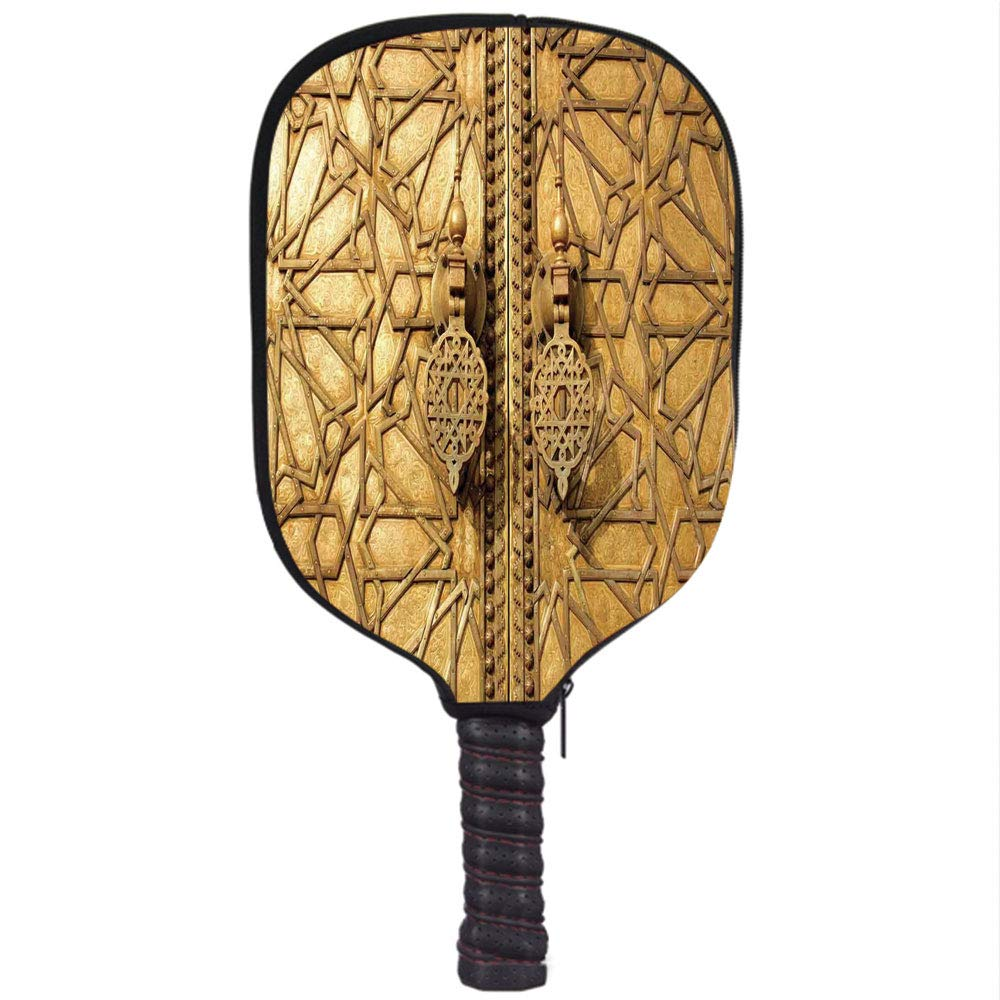 Amazon.com : Neoprene Pickleball Paddle Racket Cover Case, Moroccan Decor, Main Golden Gates of Royal Palace in Marrakesh Morocco Travel Tourist Attraction, ...