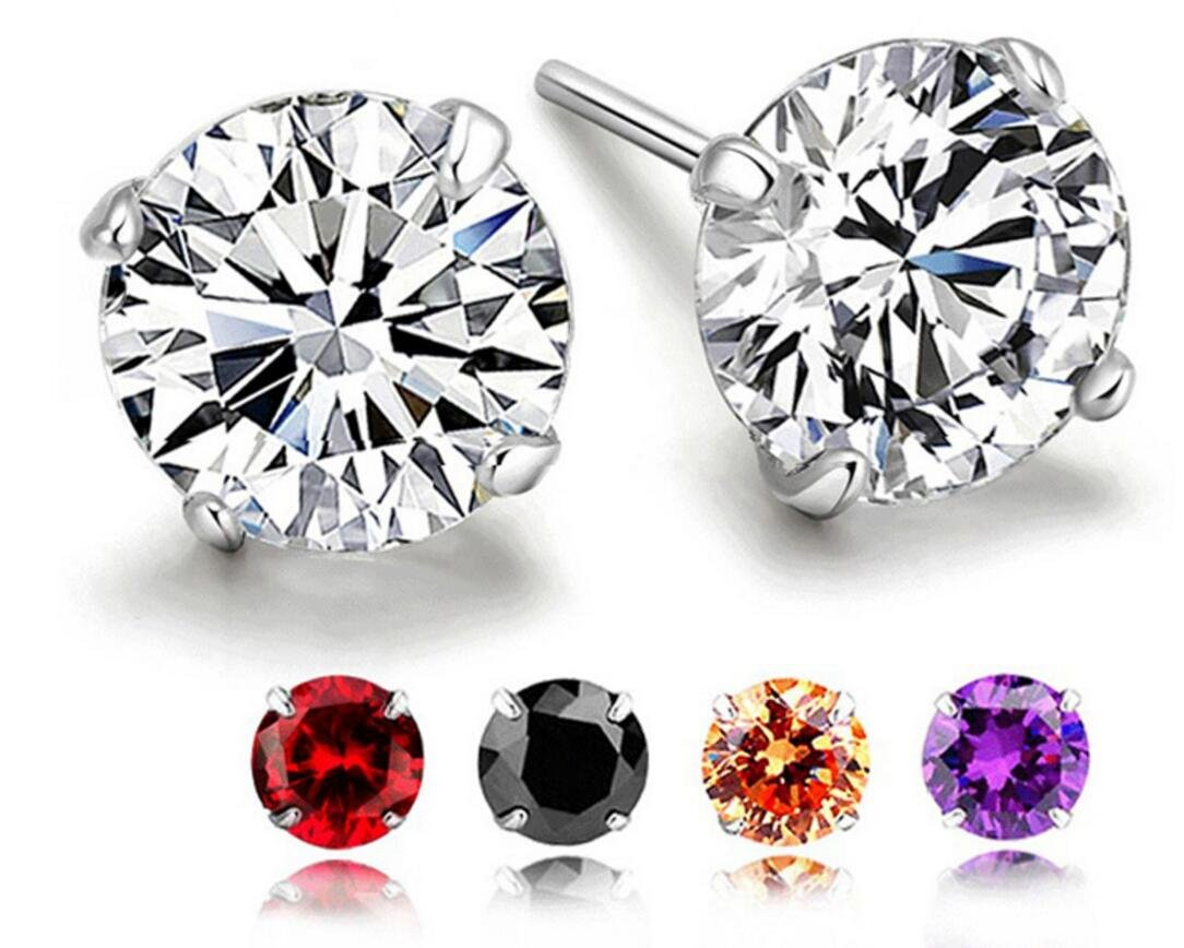 RLD Jewelry 18K Gold Plated S925 Silver Brilliant Cut Simulated Diamond CZ Stud Earrings Back to School (5 Pairs in 6mm) by RLD Jewelry (Image #1)