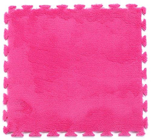 Furry Foam Carpet Rug Soft Cushion Mats   Set of 9 Tiles   Each tile is 1 sqft 12 in x 12 in x .43 in   Plum   by Matami